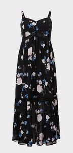 TORRID BLACK FLORAL MAXI DRESS
